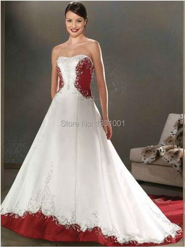 Buy cheap red and white wedding dresses for White wedding dress cheap
