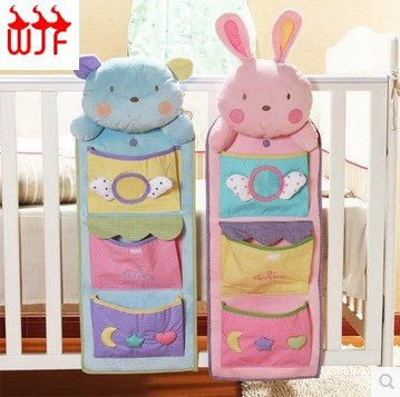 Cute Hanging Bed Storage Bags Pockets Behind Door /On Wall Sundries Holder Fleece Bags Box Organizer Diaper Toy Pocket #20(China (Mainland))