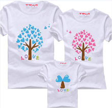 2015 summer style family set clothes for mother and daughter t shirt for father mother and