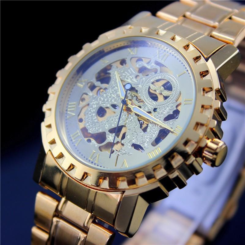 WINNER 2015 Men's Skeleton Mechanical Watch Classic Transparent Steampunk Wristwatch Stainless Steel Watch men Relogio Masculino(China (Mainland))