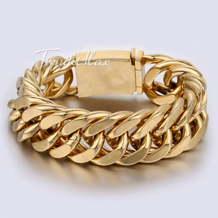 20mm Heavy Mens Chain Boys Silver Gold Tone Cut Curb Link 316L Stainless Steel Bracelet Customized