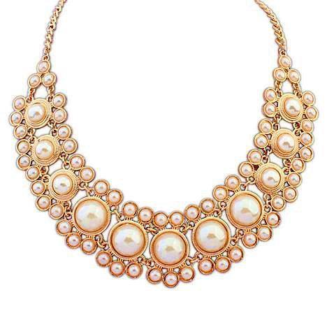 Romantic Pearl Party Gold Plated Chains Collar Bubble Layered Statement Necklaces New 2015 Fashion Jewelry Women Wholesale N223(China (Mainland))