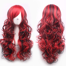 70cm Fashion Sexy Long Curly Wavy Cosplay Tilted Frisette Women Wigs Hair Wig Girl Gift Dark Red Black Mix(China (Mainland))