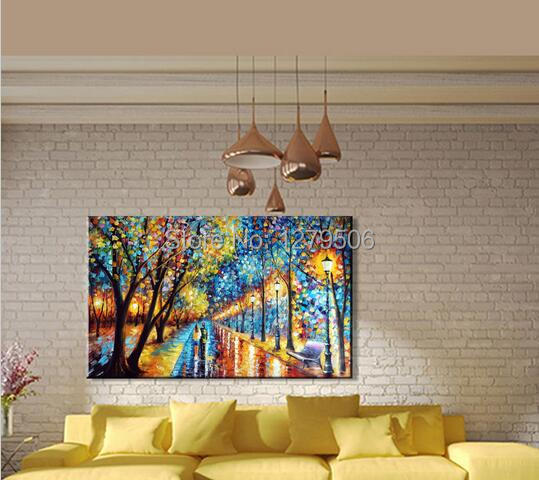 Buy 100%Handmade Modern Palette Knife Park Street Oil Painting On Canvas Art Pictures For Room Decor Wall Paintings No Frame cheap