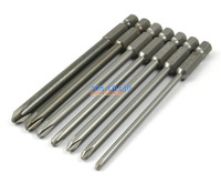 "1 Set 7 Pieces Magnetic Phillips Screwdriver Bit S2 Steel 1/4"" Hex Shank 100mm Long"