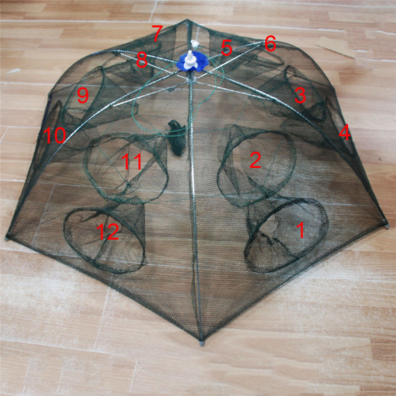 Strengthened 4-16 Holes Automatic <font><b>Fishing</b></font> <font><b>Net</b></font> Shrimp Cage Nylon Foldable Crab Fish Trap Cast <font><b>Net</b></font> Cast Folding <font><b>Fishing</b></font> Network