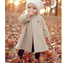 Retail Girls Outerwear Coats Children Fashion double-breasted Woolen Trench Kids Winter O-Neck Jacket Warm Cotton Clothes HC069(China (Mainland))