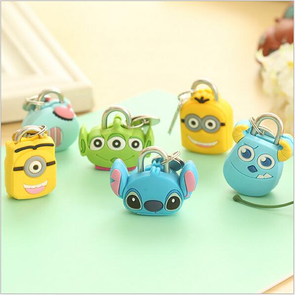 Korean creative fashion Cute Cartoon padlock silicone metal mini small lock book bags locks key lock toy baby kids gifts 2015(China (Mainland))