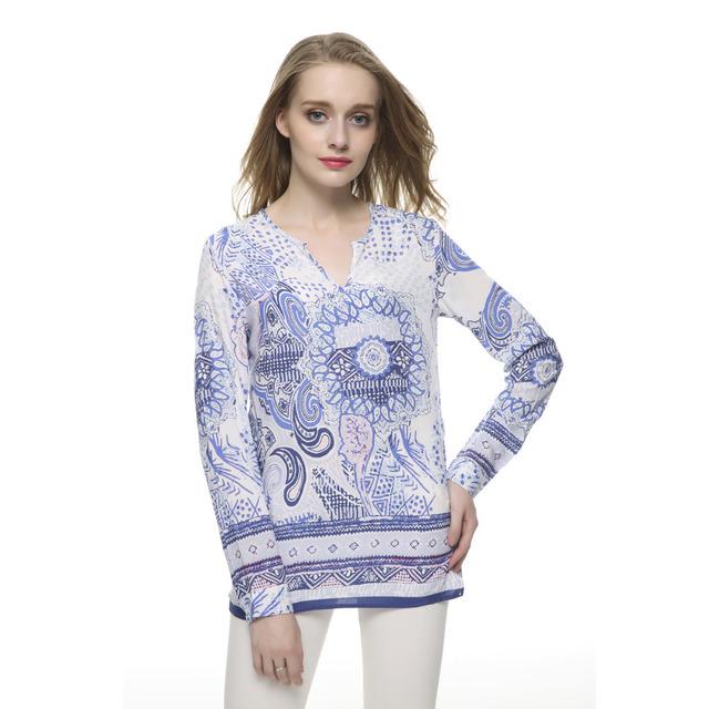 Женщины плюс размер Винтаж Печати Синий блузки V-образным Вырезом ошейник с длинным ...