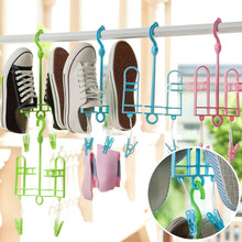 Plastic Shoe Hanger Drying Rack Patented Design Shoe Hanging Drying Hangers With Plastic Clamp Clips For Insole Shoelace(China (Mainland))
