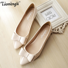 Fashion bow pointed toe ballet flat shoes women flats shoes woman big size(China (Mainland))