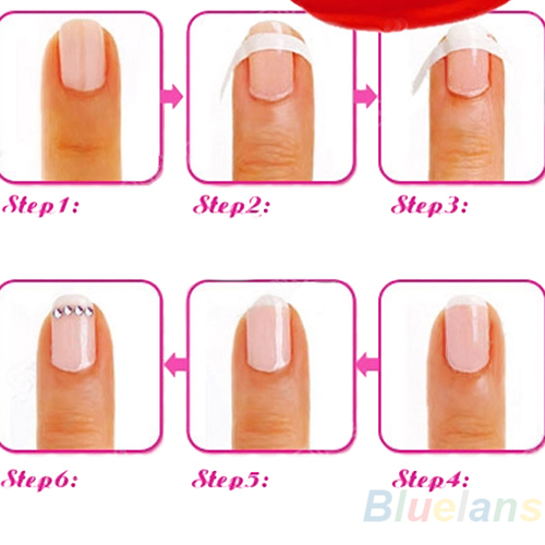 Each Pack includes 48 guides French Manicure Nail Art Form Fringe Guides Sticker DIY Stencil 02T2 34TR(China (Mainland))