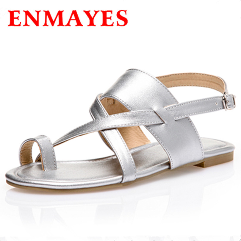ENMAYES Fashion Summer Casual and Comfortable Flats Toe Sandals Size 34-43 for Womens Shoes 3 Colors Silver Flats Sandals Woman<br><br>Aliexpress
