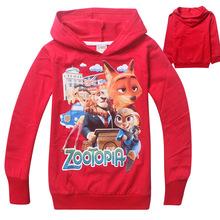Новый мультфильм Zootopia дети мальчики девочки с длинным рукавом бренд хлопка толстовки Толстовки для 3-12 Y розничная(China (Mainland))