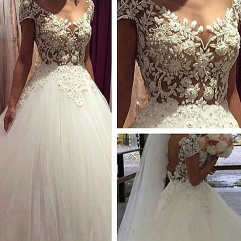 Vestidos de novia 2015 wedding dresses ball gown sexy see for See through lace wedding dress
