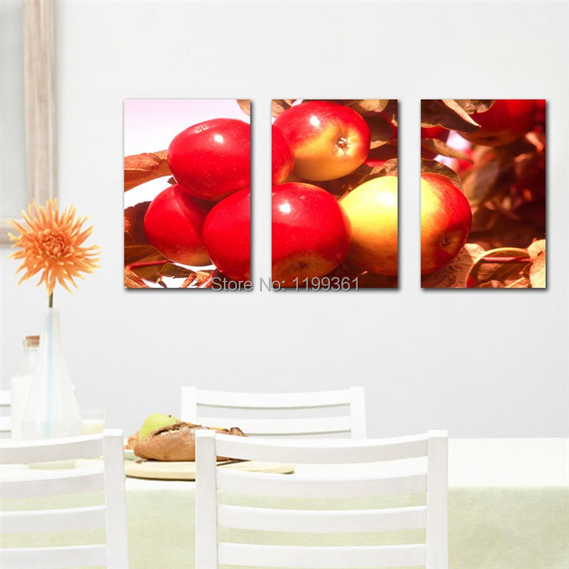 3 piece free shipping modern wall painting abstract red for Apple home decoration