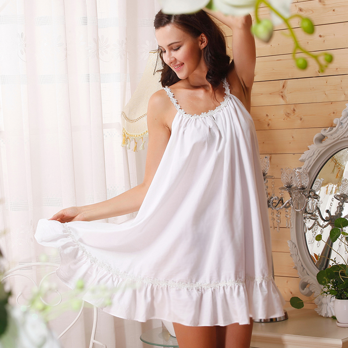 summer style coton pleine romantique courroie de spaghetti. Black Bedroom Furniture Sets. Home Design Ideas