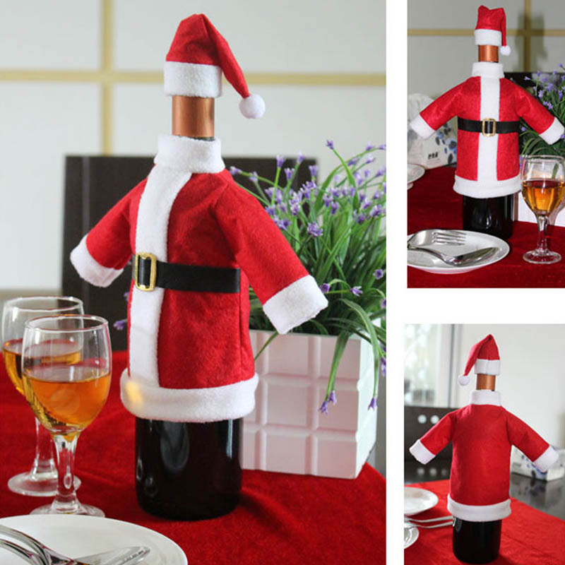 2pcs Cute Red Wine Bottle Cover Bags Santa Claus Dinner Table Decoration Clothes With Hats Home Party Decor Christmas Decoration(China (Mainland))