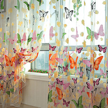 New Retail New Butterfly Printed Tulle Voile Door Window Balcony Sheer Panel Screen Curtain(China (Mainland))