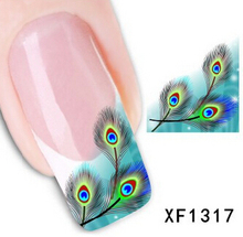 Peacock feathers blue Art Nail Sticker Decal Gel Beauty polish makeup party proud as a peacock Classic Style phoenix F1317