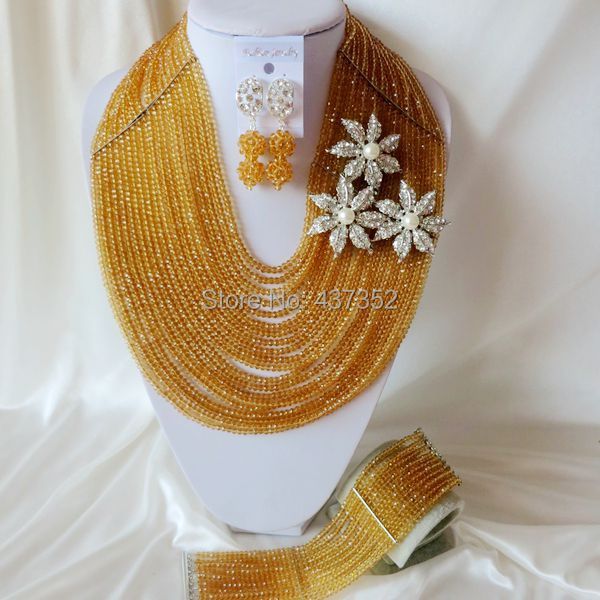 Fashion 20 layers Gold Champagne Nigerian African Wedding Beads Jewelry Set Crystal Beads Necklaces Bracelet Earrings CPS-2121<br><br>Aliexpress