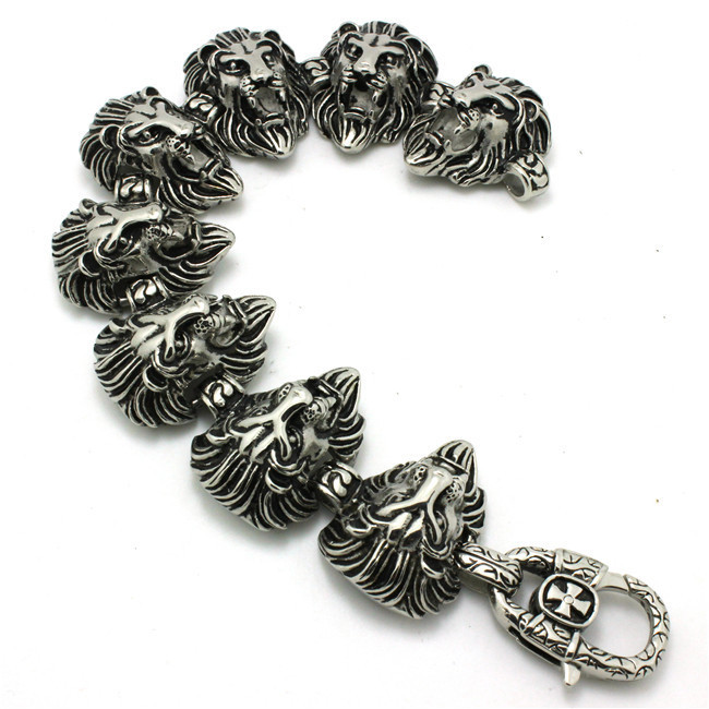 Mens Boys 316L Stainless Steel Cool Punk Gothic Lion King Head Link Cool Bracelet