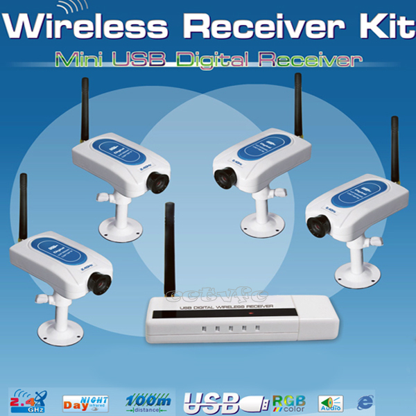 4CH baby monitor 2.4GHz Wireless Receiver Video Camera Security USB kit system(China (Mainland))