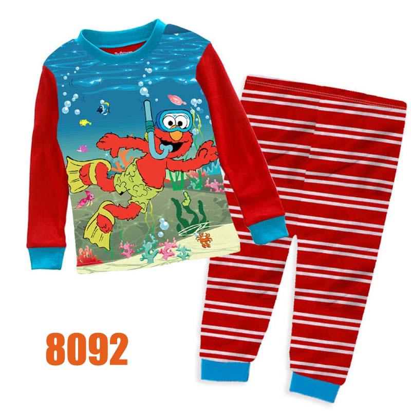 Wholesale Baby Boys Red Elmo Clothes Kids Cartoon Clothing Sets Childrens Long Sleeve Sleepwear Pajamas 8092(China (Mainland))