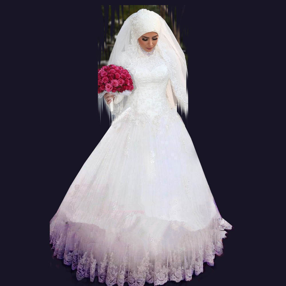 Online get cheap muslim wedding gown crystal aliexpress for Cheap muslim wedding dresses