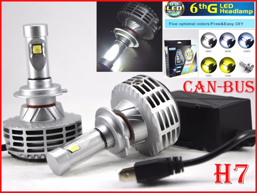 2016 NEW 1 Set H7 CREE 80W 6000LM LED Headlight XHP50 Fanless CANBUS No Error Flicker Conversion Kit Single Beam LED Bulb Lamp(China (Mainland))