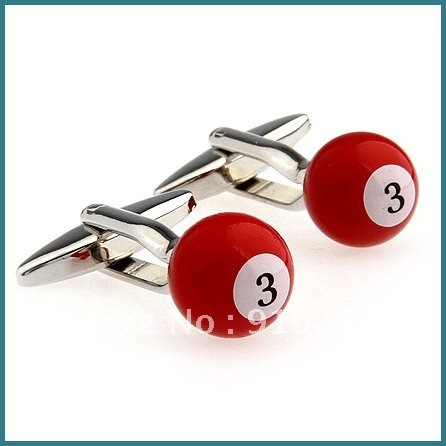 Free Shipping Novelty Copper Cufflinks, Fashion Red Billiards Jewelry Cufflinks