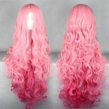 100 см розовые волосы мода аниме парики объем воздуха высокая температура мягкие волосы шелк навальные волосы длинные вьющиеся волосы большая волна парик косплей