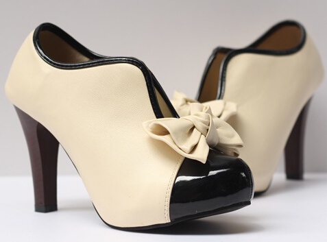 Women Shoes High Heel Pumps Cute Beauty Bow High-heeled Shoes Big yards Shoes High-heeled Shoe Single shoes Plus-size 35-41