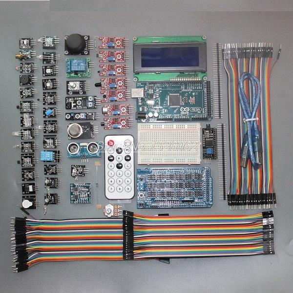 MEGA 2560 R3 Starter Kit with 40 Sensor Module Serial I2C 20*4 LCD Display Gas Detector Sound Sensor Relay IR Remote For Arduino(China (Mainland))