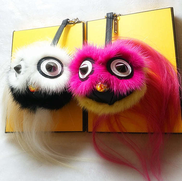 1PCS hot Little monster pendant of bags Plush owl Keychain Plush car jewelry pendant imitation of Mink furs Fashion Bird monster(China (Mainland))