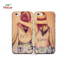 2pcs/Lots Pretty Cartoon Best Friend BFF Girl Lover Phone Cases For Iphone6 6+ Case Cover Give Love A Gift