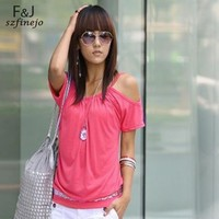 Discount 2014 New Arrival Korea Style Fashion Sexy Women T-Shirt Batwing Sleeve Off Shoulder Summer Tops Blouse 12