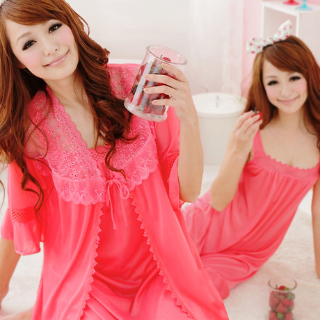 2016 new arrival 2 pcs lace robe+nightgown silk imitation women pajamas sexy lace robe sets plus size women cardigans sexy sleep(China (Mainland))