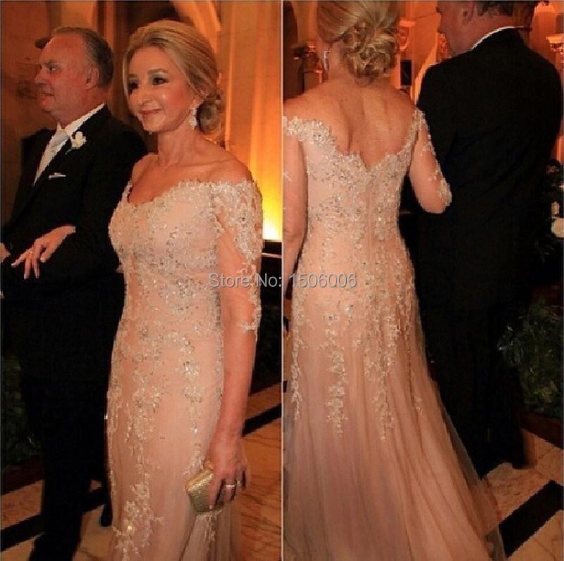 Шампанское тюль off-плечи пром платья пышными рукавами платье-линии официально вечернее платье 2016 новое поступление дизайнер мода платье