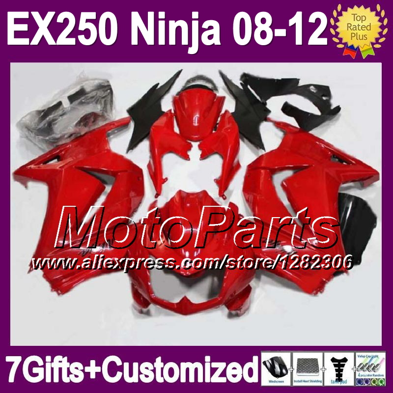 7gifts+ Kit For Kawasaki all red Ninja EX250 EX250R 18*65 2008 2009 2010 2011 2012 glossy red EX 250 08 09 10 11 12 Fairings(China (Mainland))