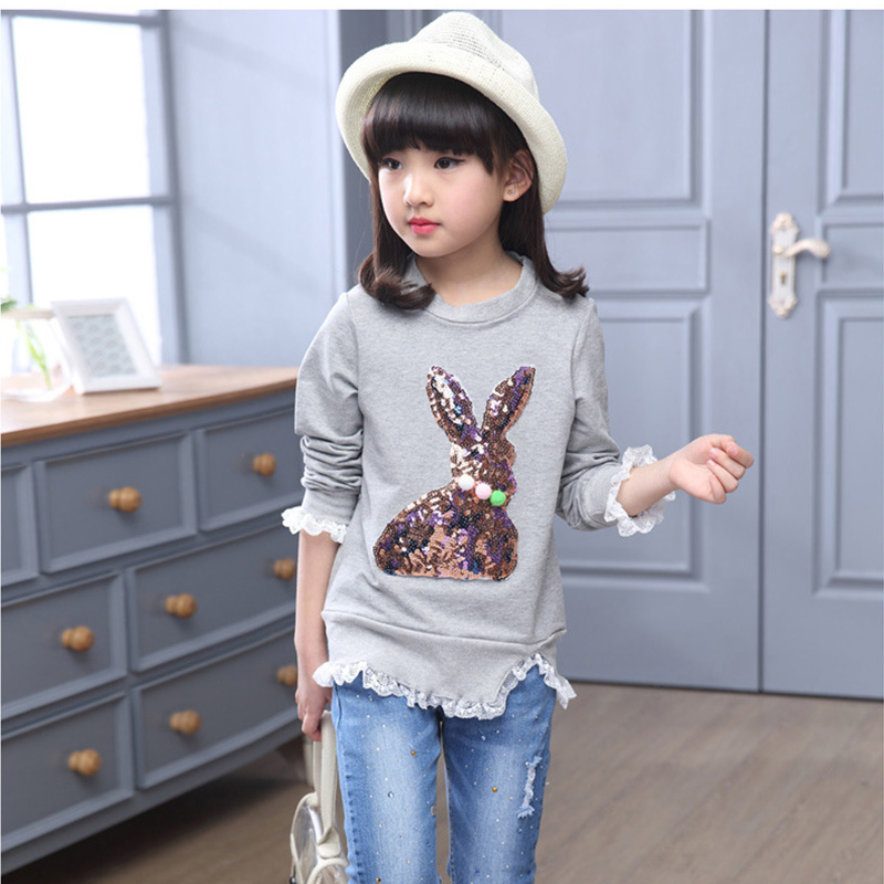 sequined rabbit character gray pink girls sweatshirt spring long sleeve kids clothes girls tops girls clothes 8 10 12 14 years