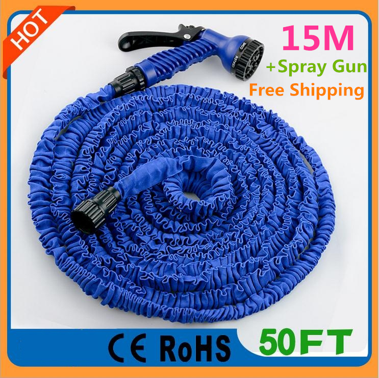 Quality Watering Water Garden Magic Yard Hose 50FT Expanding Hose for Irrigation Retractable Pipe + Spray Gun with Connector(China (Mainland))