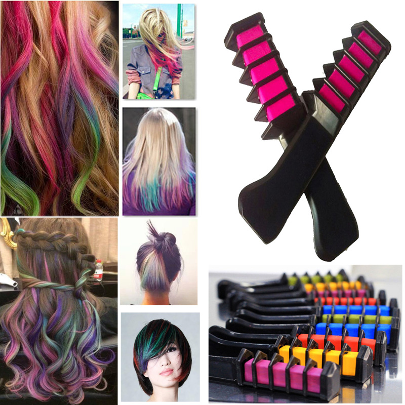 High Quality 2016 New Semi Permanent Hair Color Chalk With Comb Temporary Blue Hair Mascara Multicolor Dye Free Shipping