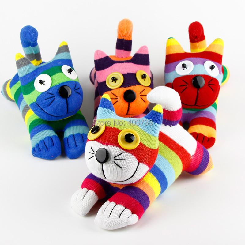 Baby Toys Boy Girl Birthday Gift 100% handmade DIY stuffed sock animals doll rainbow cat Christmas New Year Gifts(China (Mainland))