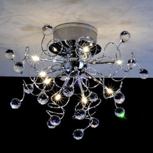 9 Light Flush Mount Crystal Ceiling Light in Polished Chrome, Crystal(China (Mainland))