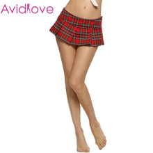 Avidlove Brand Women Fashion Sexy Lady Schoolgirl Cosplay Sleepwear Plaid Night Super Mini Pleated Skirt