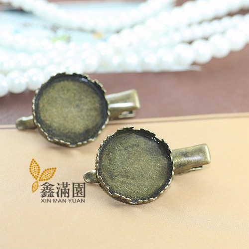 (50 pieces/lot) to fit 20mm cabochon antique bronze vintage hair pin bezel setting qy447(China (Mainland))