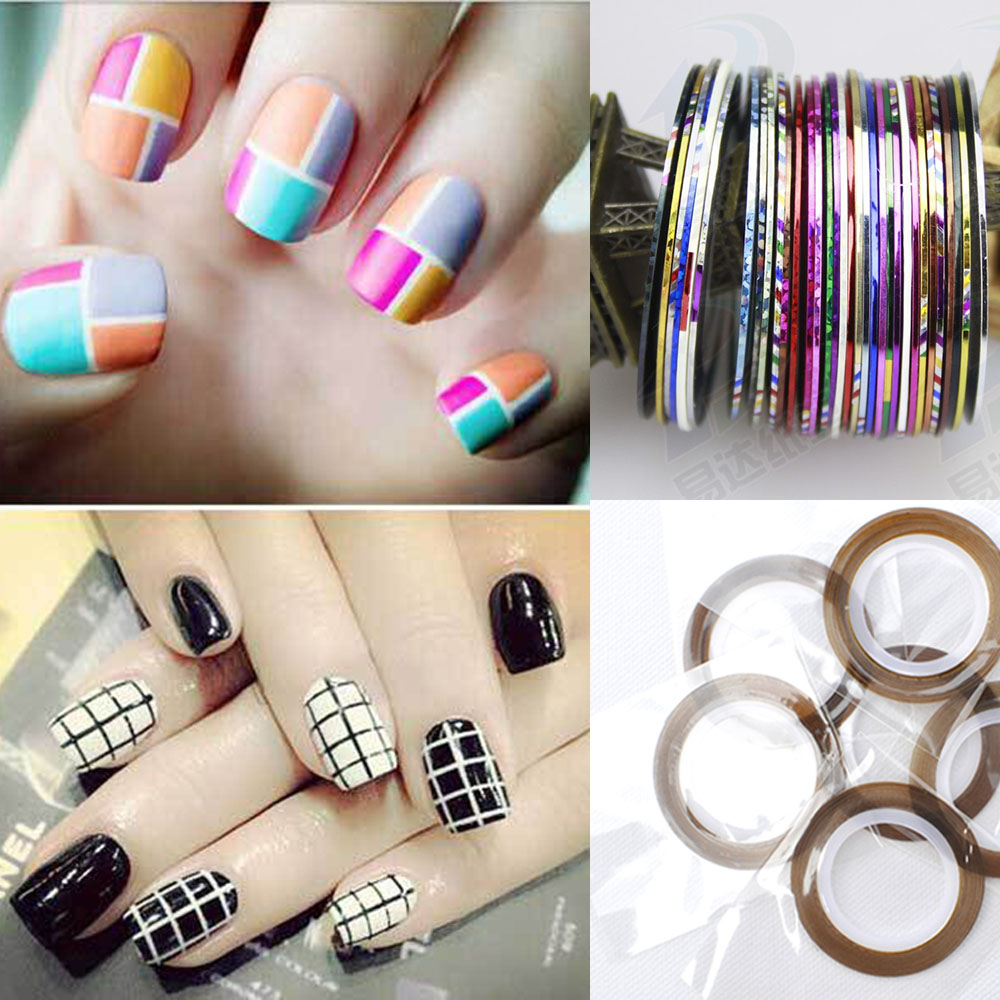 Striping Tape Line Nail Art: 30 Colors Rolls Striping Tape Line Nail Art Sticker Tools