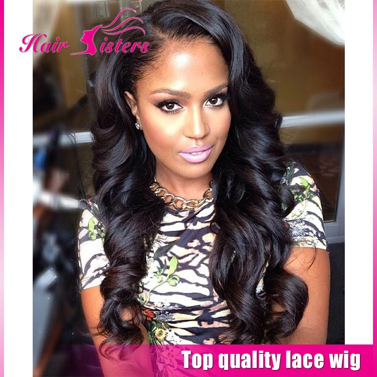 2016 Wholesale Cheap Sale Brazilian Body Wave Wig Black Side Part Bouncy Synthetic Lace Front Wigs Heat Resister For Black Women<br><br>Aliexpress