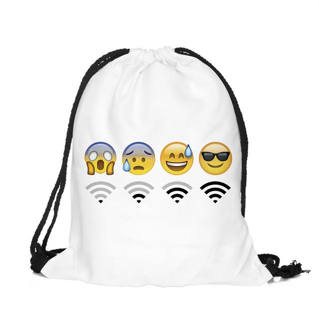 Подросток emoji эсколар ежедневно рюкзак drawstring 3D печать путешествия softback мужчина женщины mochila feminina сумка рюкзаки Новый